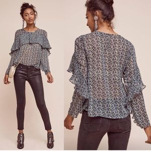 Anthro Sunday in Brooklyn Forget Me Not Blouse